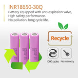 6PCS-10pcs for Samsung 18650 3.7v Lithium ion Rechargelabe battery 3000mAh INR18650 30Q batteries for e-cigarettes