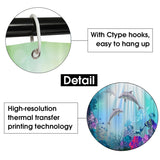 1/3/4 Pcs Sea Style Dolphin Waterproof Shower Curtain Set Toilet Cover Mat Bathroom Non-Slip Mat Pedestal Rug Kit