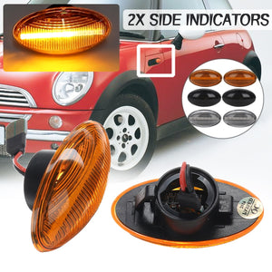 2x  Dynamic / Normal Flashing LED Side Marker Lights Indicator Turn Signal Lamp Repeater For Mini One D Cooper JCW Cabrio R50 R52 R53