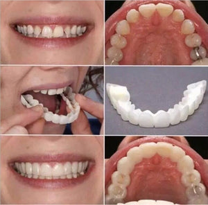 2 Pcs (Upper and Lower) Denture Instant Smile Comfort Fit Flex Cosmetic Teeth Denture Teeth Top Cosmetic Veneer