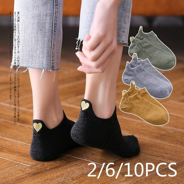 Fashion Socks Woman 2019 New Spring 1 Pair Ankle Socks Girls Cotton Color Novelty Women Fashion Cute Heart Casual Socks Lady