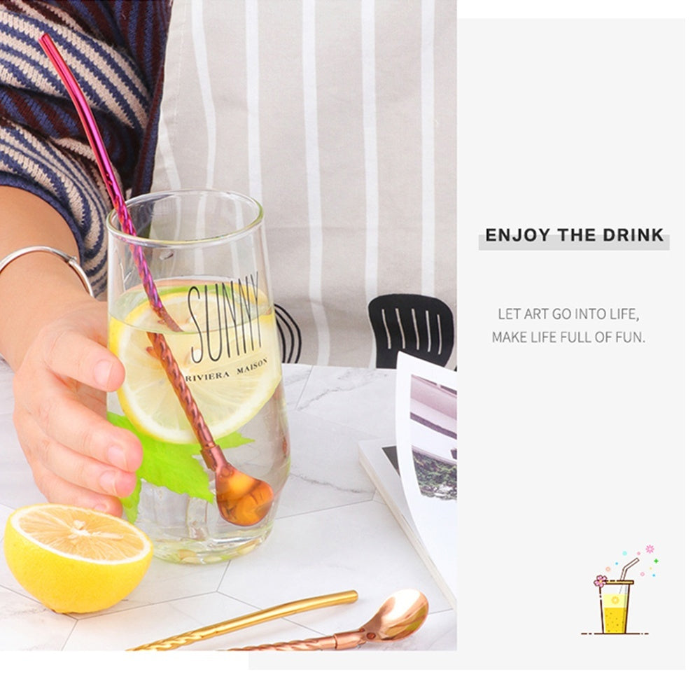 1PC Long Twisted Straw Spoon Portable Gold Tea Scoop Reusable Colored Stainless Steel Straws Cocktail Coffee Stirring Spoon