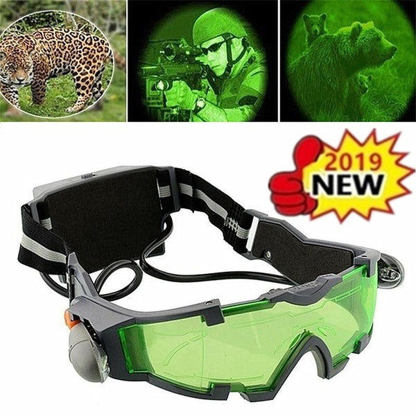 Green Lens Adjustable Elastic Band Night Vision Goggles Cycling Ski Windproof Bulletproof Sand Dust Resistant Goggles