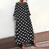 Plus Size Women Vintage Polka Dot 3/4 Sleeve Round Neck Casual Loose Long Dress Party Holiday Summer Autumn Vestidos Robe