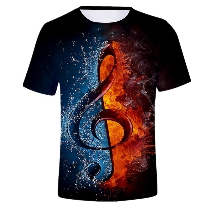 2019 Summer New Style Ice Fire Music Note Short-sleeved T-shirt 3D Men Tee Comfortable Short Sleeve
