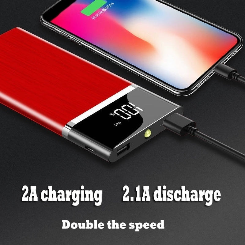 2019 New Large Capacity  Lcd Display Power Bank 2 USB Output Portable Mobile Power Bank Outdoor Travel Charger for All Models