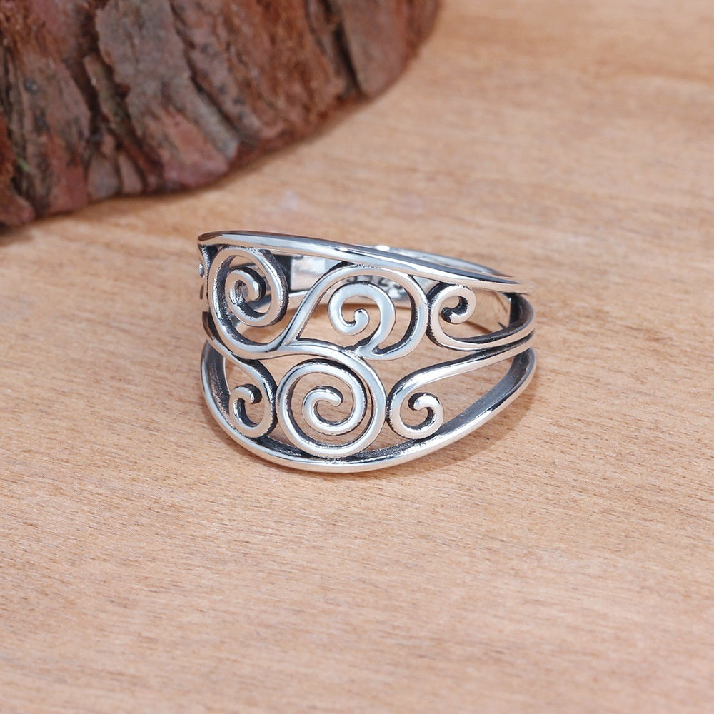 Women Antiquated Hollowout 925 Sterling Silver Colors Fern Style Ring Jewelry