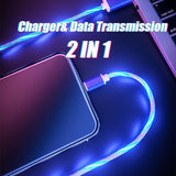 1/2M LED Fluid Fast Charging And Data Transmission Metal Shell Cable Magic Glow In Dark Micro USB Lightning For IPhone XsMax Samsung S10 Hauwei Xiaomi ...