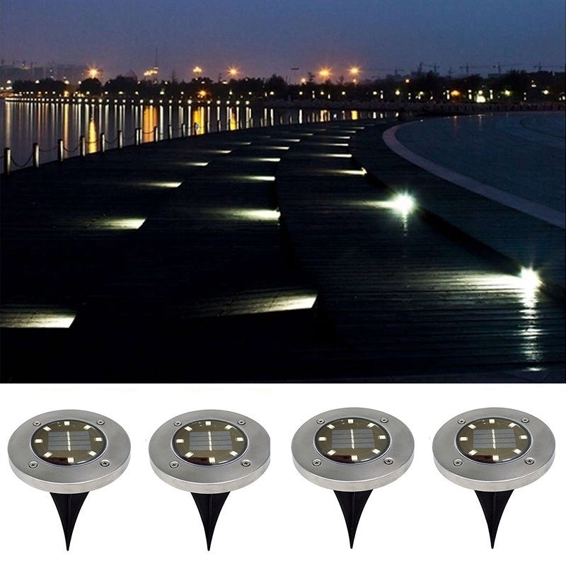 4/8PCS 12LED Solar Power Buried Light Under Ground Lamp Outdoor Path Way Garden Decking