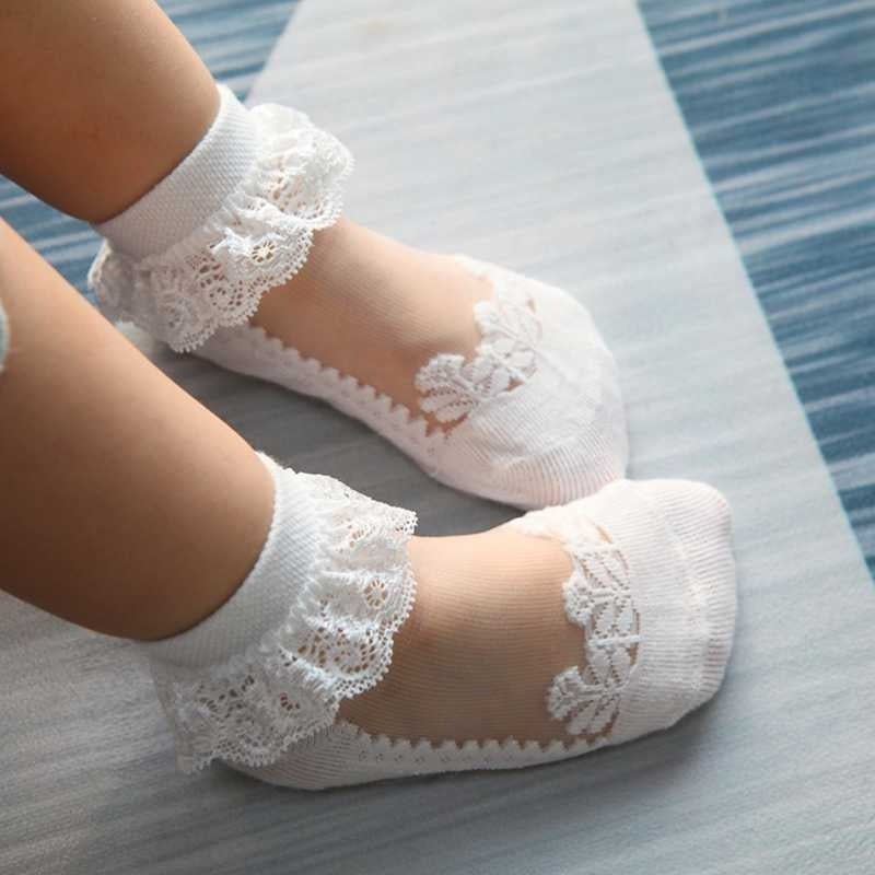 1 Pair Kids Girls Socks Princess Ruffled Lace Ankle Socks Cotton Boat Invisible Socks