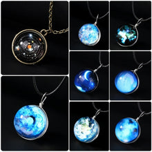 Load image into Gallery viewer, Charm Duplex Planet Crystal Stars Ball Glass Galaxy Glow in the Dark Ball Necklace For Gift