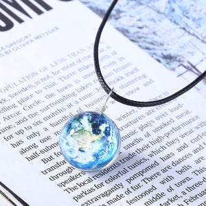 Charm Duplex Planet Crystal Stars Ball Glass Galaxy Glow in the Dark Ball Necklace For Gift