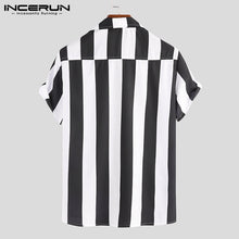 Load image into Gallery viewer, Striped Summer Black and White Shirt Men's Short Sleeve Cool Business Casual Tops