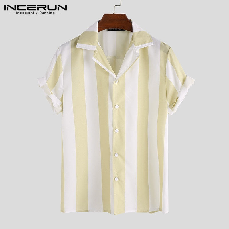 Striped Summer Black and White Shirt Men's Short Sleeve Cool Business Casual Tops