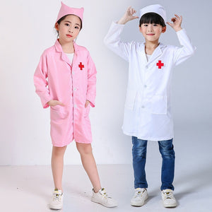 1 Set Children Doctors Nurses Uniform Dress White Gown Kids Cosplay Costume with Hat