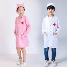 Load image into Gallery viewer, 1 Set Children Doctors Nurses Uniform Dress White Gown Kids Cosplay Costume with Hat