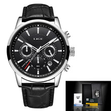 Load image into Gallery viewer, Relogio Masculino Men Watches LIGE Fashion Waterproof Chronograph Top Brand Luxury Quartz Watch Men Casual Leather Sport Watch