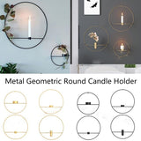 3D Metal Candlestick Wall Hanging Geometric Round Candle Holder Home Decor