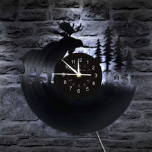 Load image into Gallery viewer, Elk Moose Wall Clock | Deer Vinyl Clock | LED Vinyl Clock | Wall Decor | Unique Clock  | Cool Retro Clock | Christmas Birthday Gift