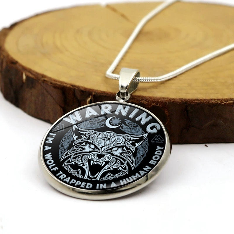 High Quality Silver Plated Necklace Never Quit Never Back Down, Be The Wolf Glass Cabochon Jewelry Gift for Wolf Lovers