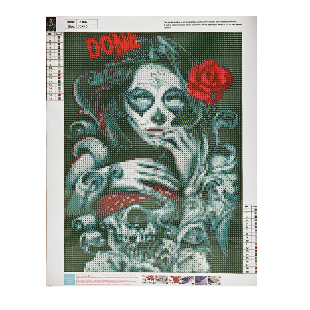 Without Frames DIY 5D Full Drill Diamond Painting Embroidery Beauty Cross Stitch Kits Art Home Decor Halloween Skull