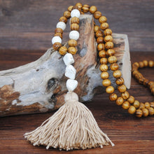 Load image into Gallery viewer, Bohemian Handmade Linen Accessories Pendant Long Colorful Tassel Wooden Beads Necklace Brand Jewelry Turquoise Pendant