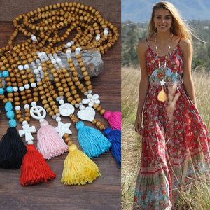 Bohemian Handmade Linen Accessories Pendant Long Colorful Tassel Wooden Beads Necklace Brand Jewelry Turquoise Pendant