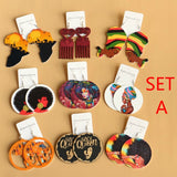 9 Pairs Set African Women  Earrings Wood Carving Paniting Earrings for Women Fashion Wooden Jewelry