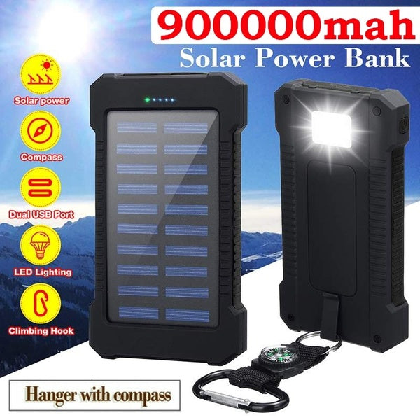 Solar Power Bank Waterproof 900000mAh Solar Charger Dual USB Ports Portable External Battery Charger Solar Powerbank for Smartphone with LED Light