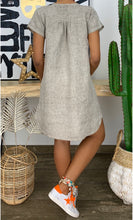 Load image into Gallery viewer, 2019 Summer New Fashion Women's Loose Solid Color Short Sleeve V-neck Linen Dress