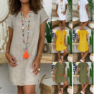 2019 Summer New Fashion Women's Loose Solid Color Short Sleeve V-neck Linen Dress