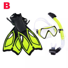Load image into Gallery viewer, Diving Snorkel Set Swim Swimming Glasses Water Sports Diving Mask Diving Flippers Diving Fins Snorkels Mask