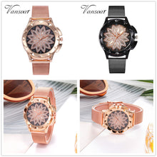 Load image into Gallery viewer, vansvar Casual Quartz Stainless Steel Band Women Lucky Flower Rhinestone Watch