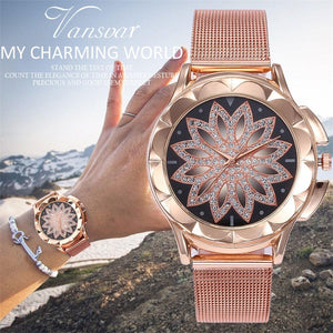vansvar Casual Quartz Stainless Steel Band Women Lucky Flower Rhinestone Watch