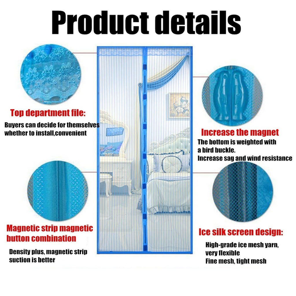 190*230cm/200*250cm Large Size Magnetic Mosquito Door Screen Mesh Nets Anti Bugs Insect Mosquito Curtain