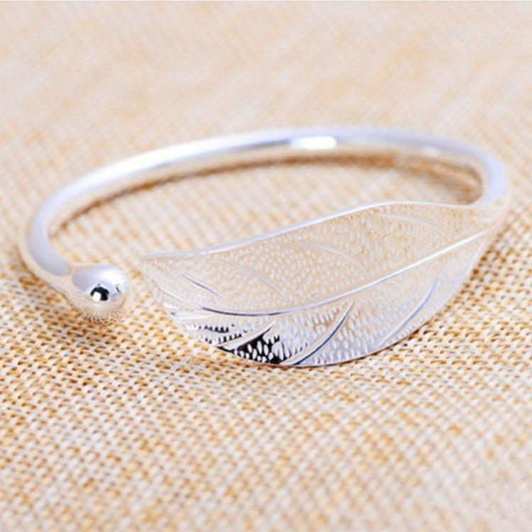 Simple Fashion Leaf Bracelet Leaf Opening Bracelet 925 Silver Leaf Bracelets for Women