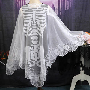 OurWarm 60*60inch White Lace Skeleton Poncho Halloween Poncho Custom for Women Halloween Party Supplies