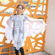 Load image into Gallery viewer, OurWarm 60*60inch White Lace Skeleton Poncho Halloween Poncho Custom for Women Halloween Party Supplies