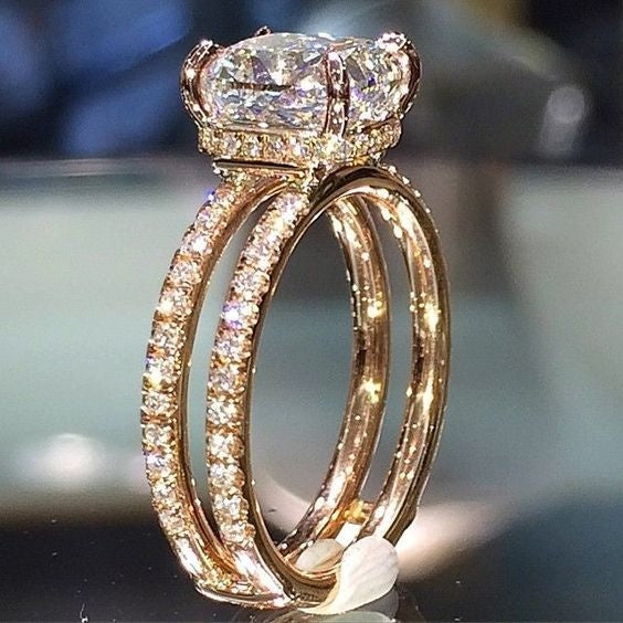 Hot Sale 18k Yellow Gold Double Diamond Crown Ring Diamond Princess Engagement Ring