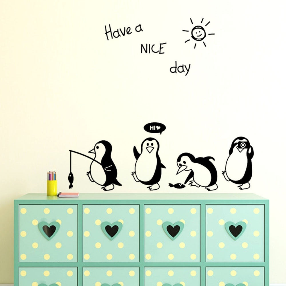 Havea Nice Day Cute Animals Penguin Refrigerator Sticker Fridge Kitchen Fridge Wall Stickers Art For Home Decoration