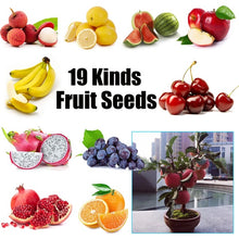 Load image into Gallery viewer, 19 Kinds of Bonsai Fruit Seeds for Garden Grape/Strawberry /Blueberry/Banana/Apple/Kiwifruit/Cherry/Pitaya/Orange/Lemon Plum/Litchi/Raspberry/Fig/Watermelon/Mulberry/Pear/Cherry Tomato Seeds