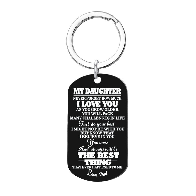 To My Son Daughter I Want You To Believe Love Dad Mom Dog Tag Military Keychain Family Jewelry Birthday Graduation Gift for Kids
