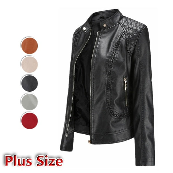 Autumn and Winter Women Jacket Long-sleeve Zipper Slim Leather Jacket Coat Motorcycle Cool Jacket