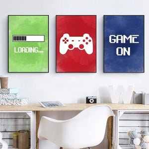 Video Game Wall Art Canvas Painting Gaming Room Decor  Video Game Party Art Canvas Painting Pictures Boys Room Wall Decoration (No Frame)