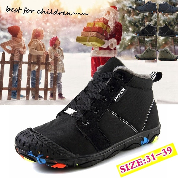 Winter  Kid's Shoes Outdoor Cozy Child Winter Warm Boots Kids Snow Boots Warm Boys Shoes Waterproof Non-slip Ankle Boot Botas De Ni?os Kinderstiefel