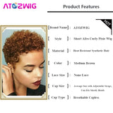 Very Short Afro Curly Pixie Wigs Heat Resistant Brown Hair Wigs For Black Women Ladies + Free Wig Cap