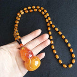 1PC Beeswax Amber Pendant Sweater Chain Necklace Bohemia Vintage Ethnic Long Beads Necklace