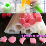 1pcs Pipe Mould Long Silicone Tube Mold Heart/Round/Star/Square/Flower/Moon Shaped Soap Mold