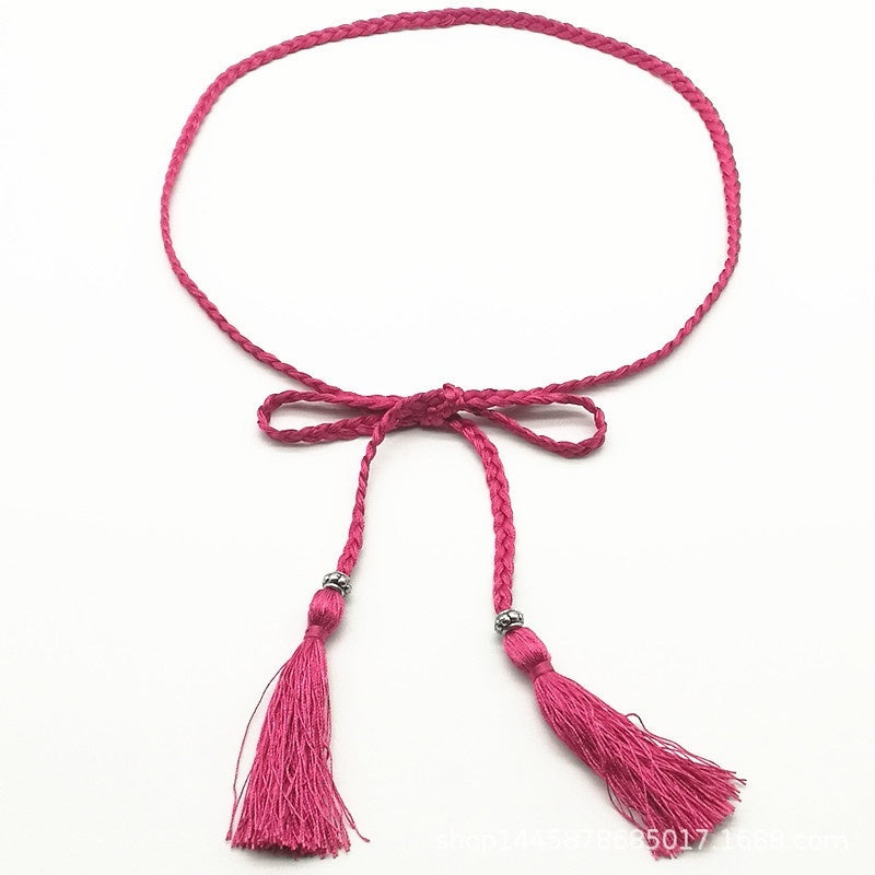 New Arrival Women Vivid Braided Waist Belt Thin Tassel Bow Rope Clothing Accessories Knitted Belt Casual Waistband