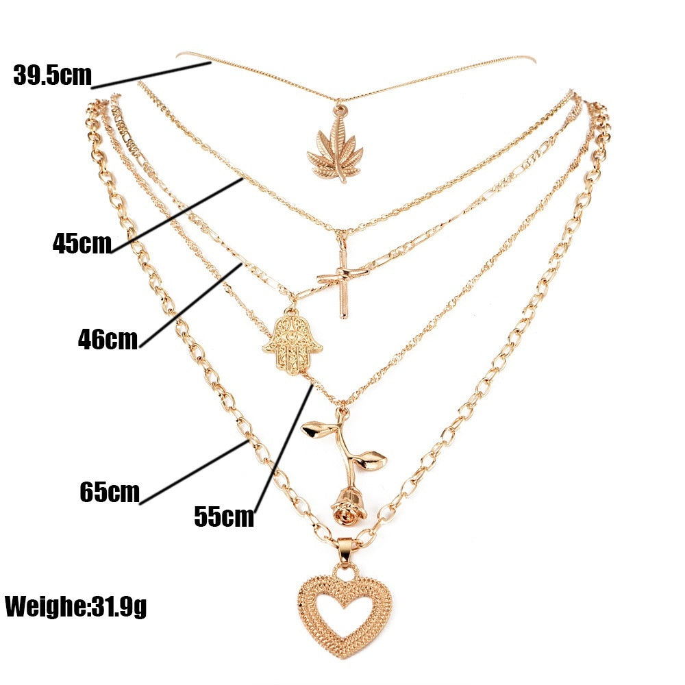 Bohemian Fashion Leaf Cross Hand Rose Heart Pendant Multilayer Gold Necklace Ladies Charm Sweater Chain Party Jewelry Accessories